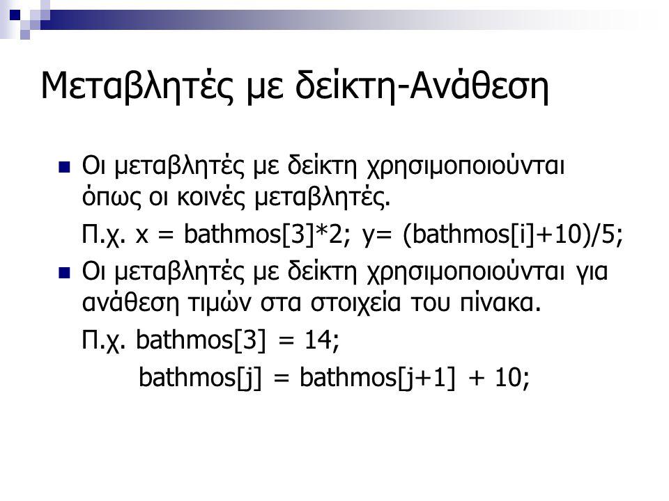 Μεταβλητές με δείκτη-Ανάθεση  Οι μεταβλητές με δείκτη χρησιμοποιούνται όπως οι κοινές μεταβλητές. Π.χ. x = bathmos[3]*2; y= (bathmos[i]+10)/5;  Οι μ