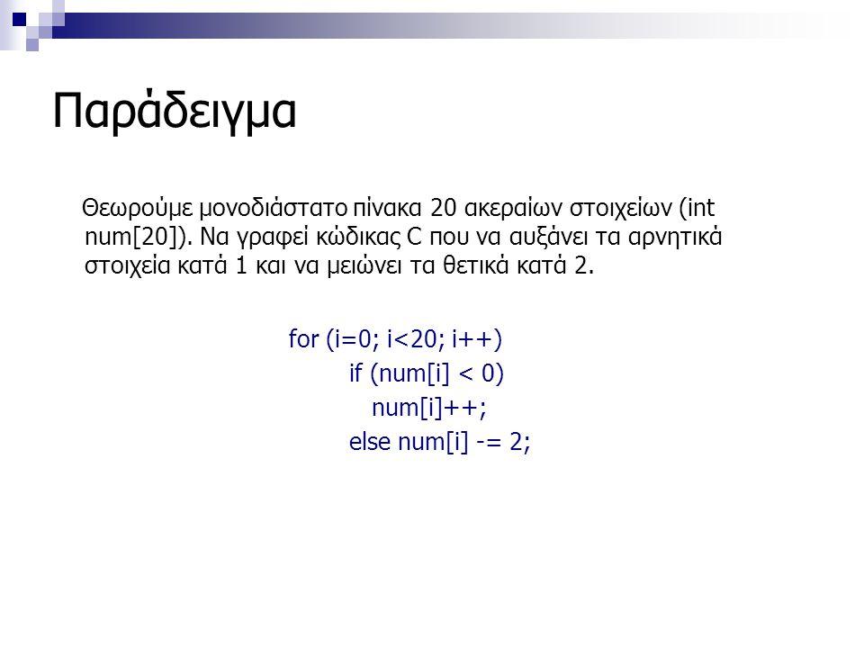 Παράδειγμα Θεωρούμε μονοδιάστατο πίνακα 20 ακεραίων στοιχείων (int num[20]). Να γραφεί κώδικας C που να αυξάνει τα αρνητικά στοιχεία κατά 1 και να μει