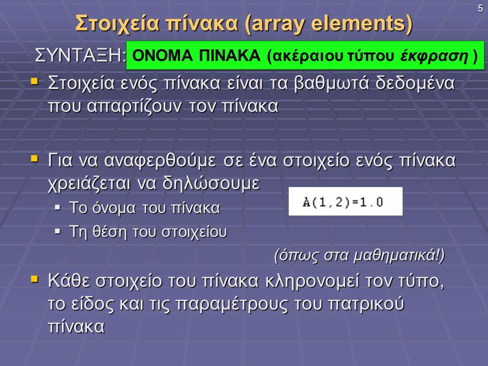 Στοιχεία πίνακα (array elements) ΣΥΝΤΑΞΗ: ΣΥΝΤΑΞΗ:  Στοιχεία ενός πίνακα είναι τα βαθμωτά δεδομένα που απαρτίζουν τον πίνακα  Για να αναφερθούμε σε