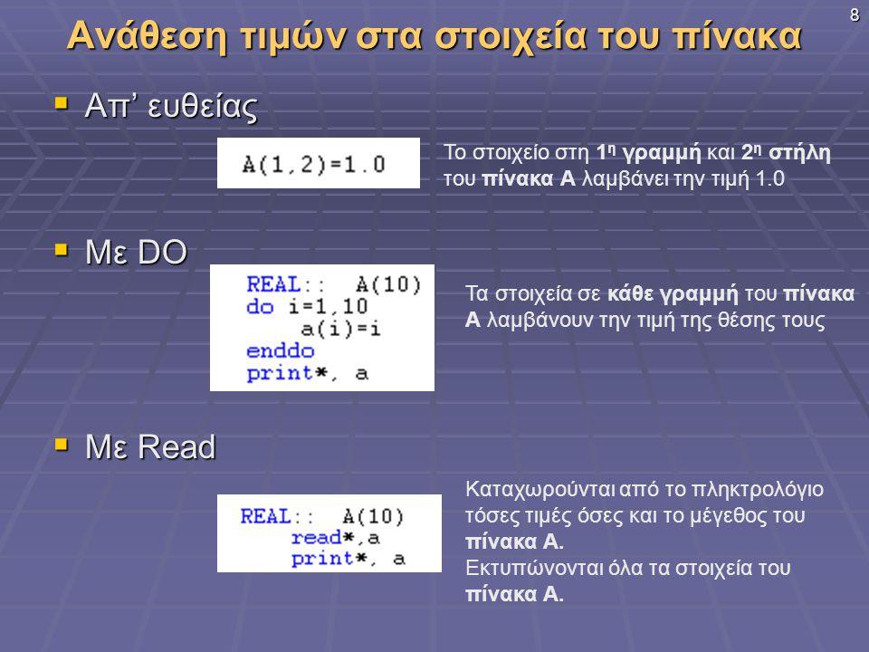 8 Ανάθεση τιμών στα στοιχεία του πίνακα  Απ' ευθείας  Με DO  Με Read Το στοιχείο στη 1 η γραμμή και 2 η στήλη του πίνακα Α λαμβάνει την τιμή 1.0 Τα