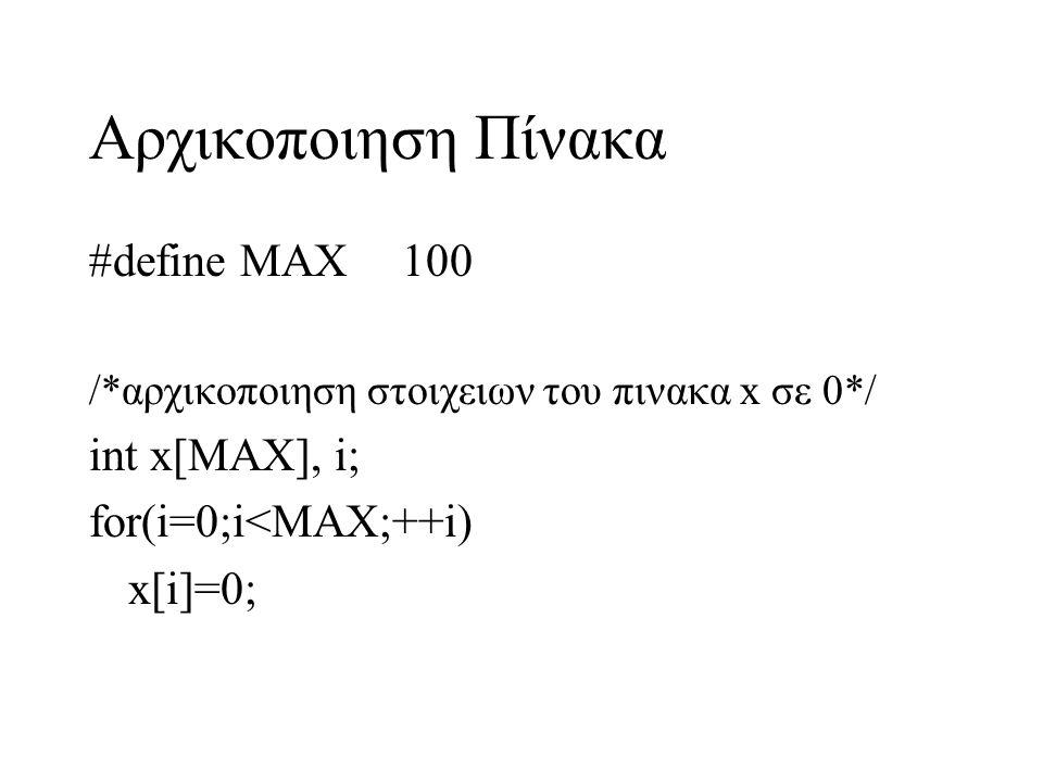Αρχικοποιηση Πίνακα #define MAX100 /*αρχικοποιηση στοιχειων του πινακα x σε 0*/ int x[MAX], i; for(i=0;i<MAX;++i) x[i]=0;