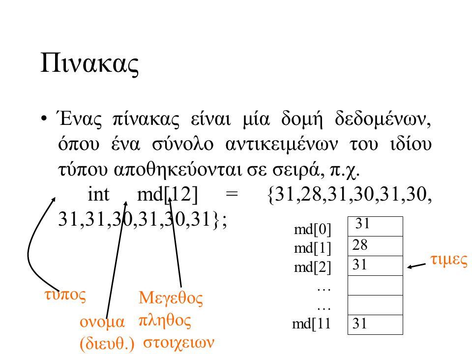 Πινακας •Ένας πίνακας είναι μία δομή δεδομένων, όπου ένα σύνολο αντικειμένων του ιδίου τύπου αποθηκεύονται σε σειρά, π.χ. int md[12] = {31,28,31,30,31