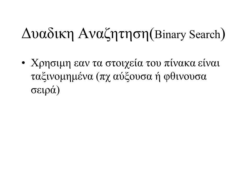 Δυαδικη Αναζητηση( Binary Search ) •Χρησιμη εαν τα στοιχεία του πίνακα είναι ταξινομημένα (πχ αύξουσα ή φθινουσα σειρά)