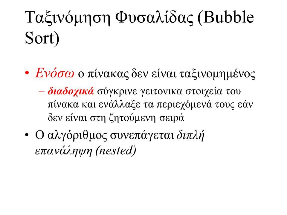 Ταξινόμηση Φυσαλίδας (Bubble Sort) •Ενόσω ο πίνακας δεν είναι ταξινομημένος –διαδοχικά σύγκρινε γειτoνικα στοιχεία του πίνακα και ενάλλαξε τα περιεχόμ