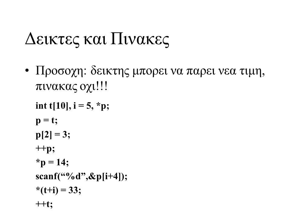 """Δεικτες και Πινακες •Προσοχη: δεικτης μπορει να παρει νεα τιμη, πινακας οχι!!! int t[10], i = 5, *p; p = t; p[2] = 3; ++p; *p = 14; scanf(""""%d"""",&p[i+4]"""