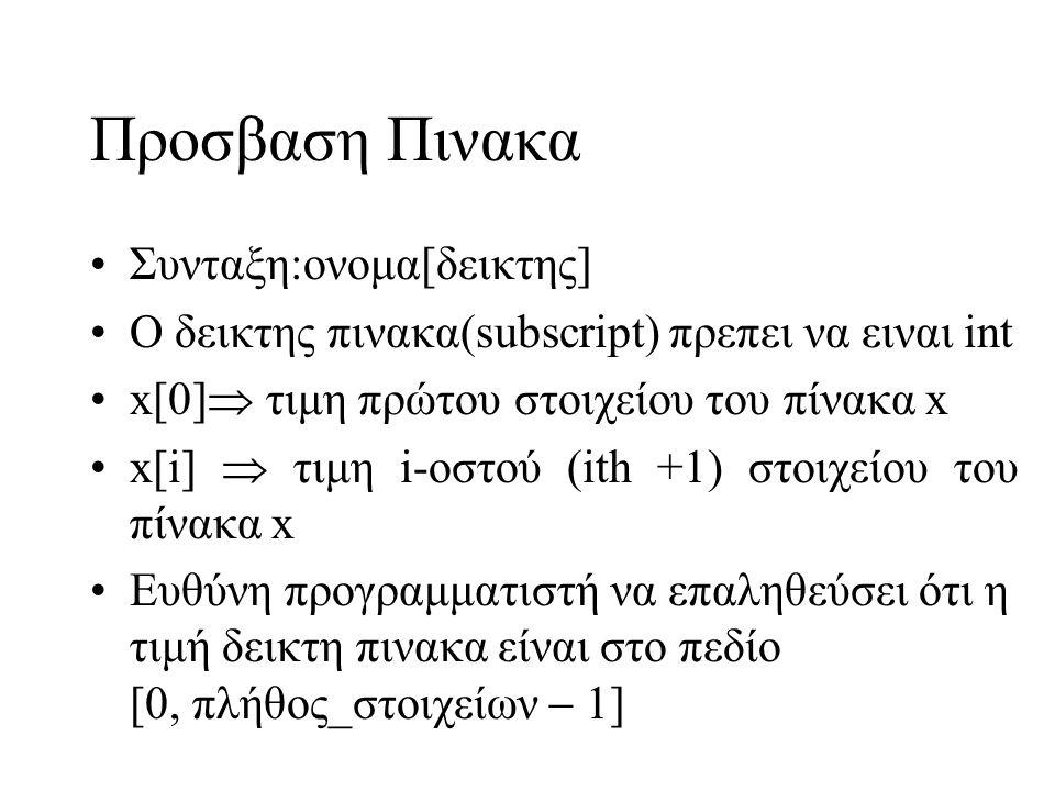 Προσβαση Πινακα •Συνταξη:oνομα[δεικτης] •Ο δεικτης πινακα(subscript) πρεπει να ειναι int •x[0]  τιμη πρώτου στοιχείου του πίνακα x •x[i]  τιμη i-οστ