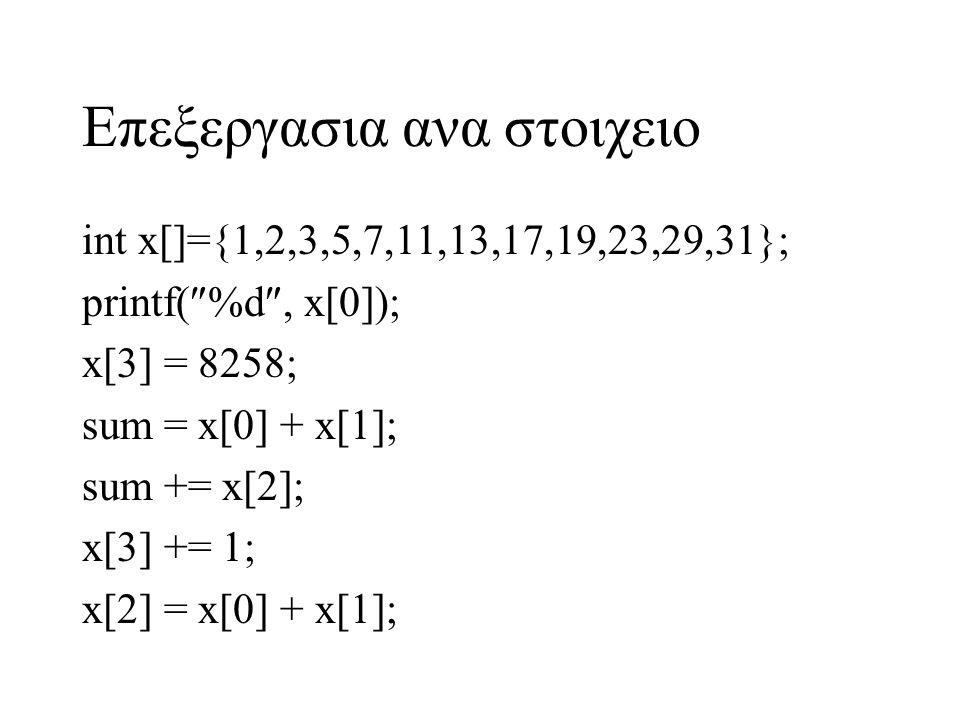 Επεξεργασια ανα στοιχειο int x[]={1,2,3,5,7,11,13,17,19,23,29,31}; printf(  %d , x[0]); x[3] = 8258; sum = x[0] + x[1]; sum += x[2]; x[3] += 1; x[2]