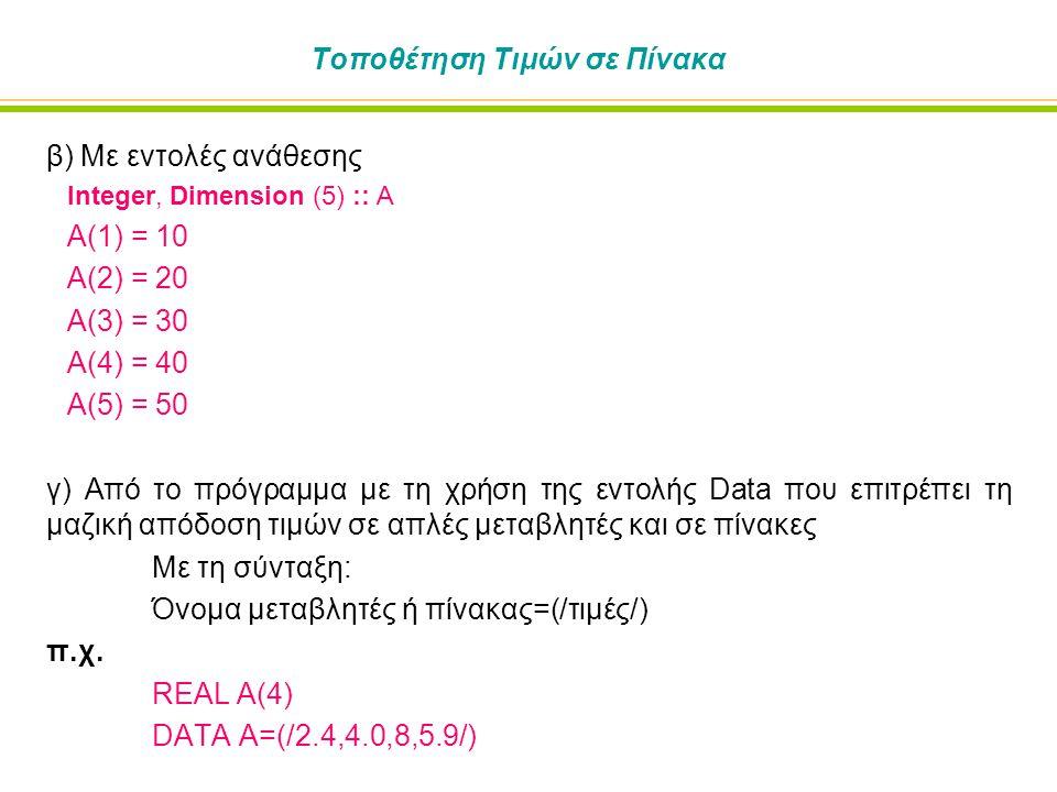 Τοποθέτηση Τιμών σε Πίνακα β) Με εντολές ανάθεσης Integer, Dimension (5) :: A Α(1) = 10 Α(2) = 20 Α(3) = 30 Α(4) = 40 Α(5) = 50 γ) Από το πρόγραμμα με τη χρήση της εντολής Data που επιτρέπει τη μαζική απόδοση τιμών σε απλές μεταβλητές και σε πίνακες Με τη σύνταξη: Όνομα μεταβλητές ή πίνακας=(/τιμές/) π.χ.
