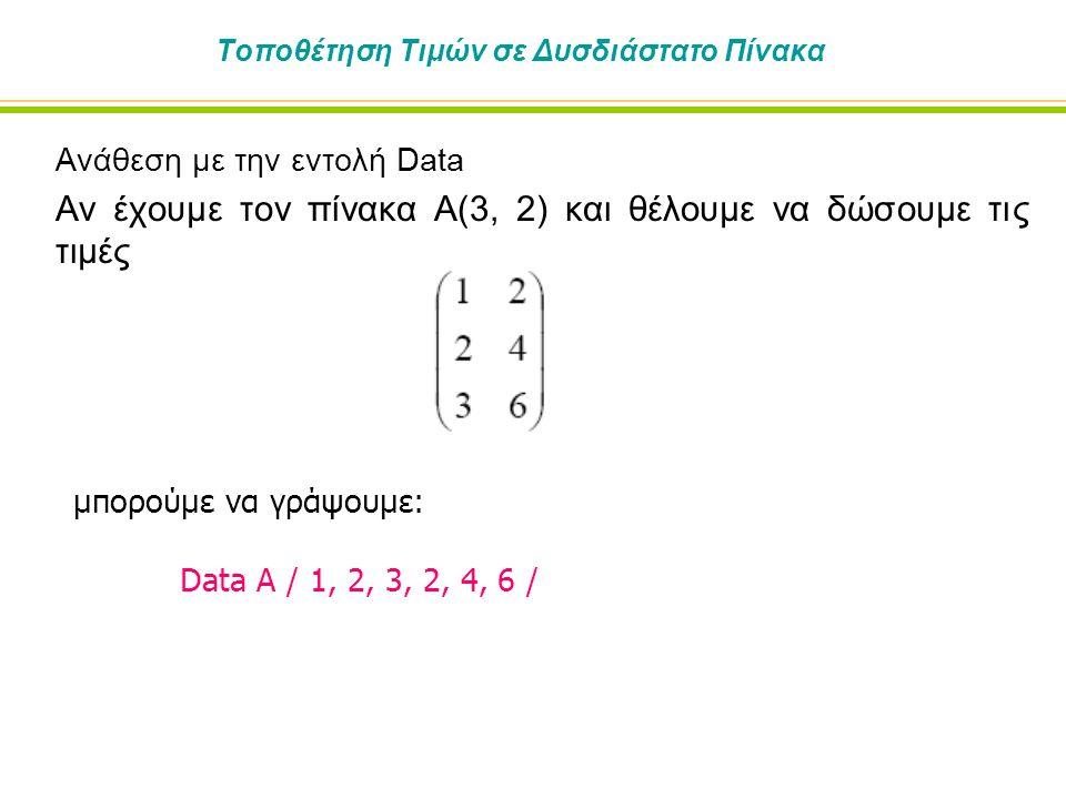 Τοποθέτηση Τιμών σε Δυσδιάστατο Πίνακα Ανάθεση με την εντολή Data Αν έχουμε τον πίνακα Α(3, 2) και θέλουμε να δώσουμε τις τιμές μπορούμε να γράψουμε: Data A / 1, 2, 3, 2, 4, 6 /