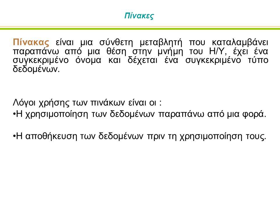 Τοποθέτηση Τιμών σε Δυσδιάστατο Πίνακα Ή να χρησιμοποιήσουμε την υπονοούμενη (implied) εντολή Do.