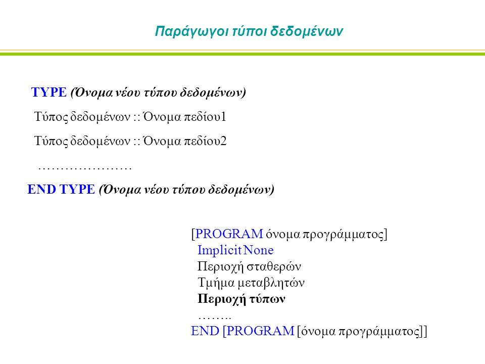 Παράγωγοι τύποι δεδομένων TYPE (Όνομα νέου τύπου δεδομένων) Τύπος δεδομένων :: Όνομα πεδίου1 Τύπος δεδομένων :: Όνομα πεδίου2 ………………… END TYPE (Όνομα νέου τύπου δεδομένων) [PROGRAM όνομα προγράμματος] Implicit None Περιοχή σταθερών Τμήμα μεταβλητών Περιοχή τύπων ……..