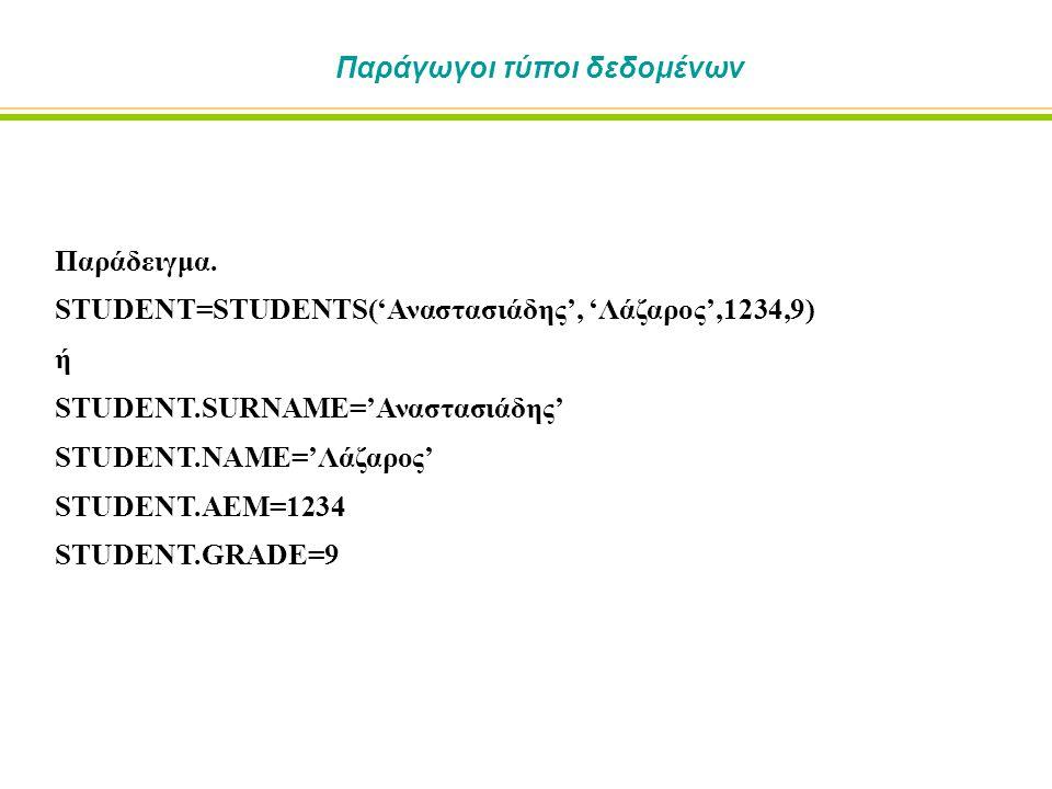 Παράδειγμα. STUDENT=STUDENTS('Αναστασιάδης', 'Λάζαρος',1234,9) ή STUDENT.SURNAME='Αναστασιάδης' STUDENT.NAME='Λάζαρος' STUDENT.AEM=1234 STUDENT.GRADE=