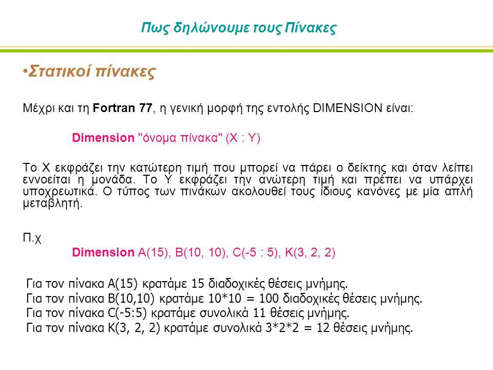 Πως δηλώνουμε τους Πίνακες •Στατικοί πίνακες Μέχρι και τη Fortran 77, η γενική μορφή της εντολής DΙΜEΝSΙΟΝ είναι: Dimension όνομα πίνακα (Χ : Υ) Το Χ εκφράζει την κατώτερη τιμή που μπορεί να πάρει ο δείκτης και όταν λείπει εννοείται η μονάδα.