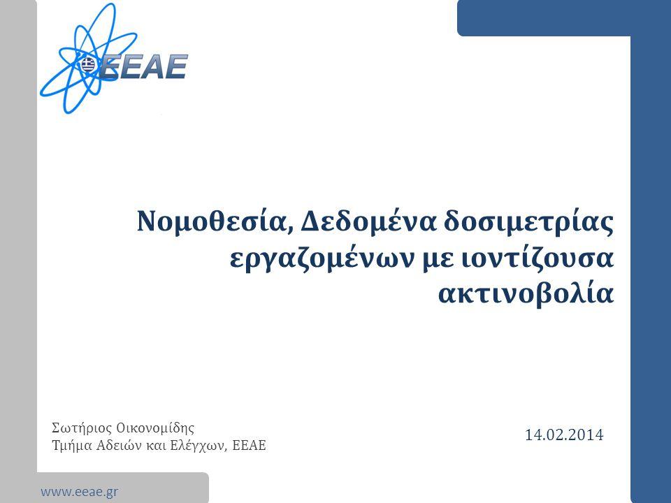www.eeae.gr Νομοθεσία, Δεδομένα δοσιμετρίας εργαζομένων με ιοντίζουσα ακτινοβολία Σωτήριος Οικονομίδης Τμήμα Αδειών και Ελέγχων, ΕΕΑΕ 14.02.2014