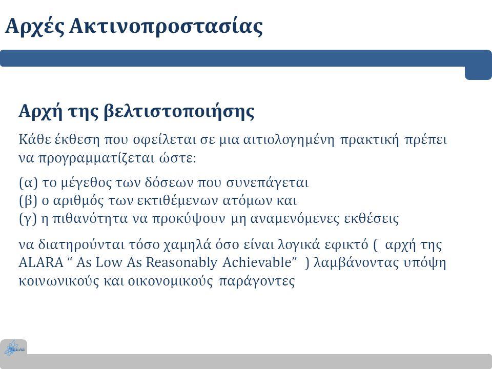 Αρχή της βελτιστοποιήσης Κάθε έκθεση που οφείλεται σε μια αιτιολογημένη πρακτική πρέπει να προγραμματίζεται ώστε: (α) το μέγεθος των δόσεων που συνεπά