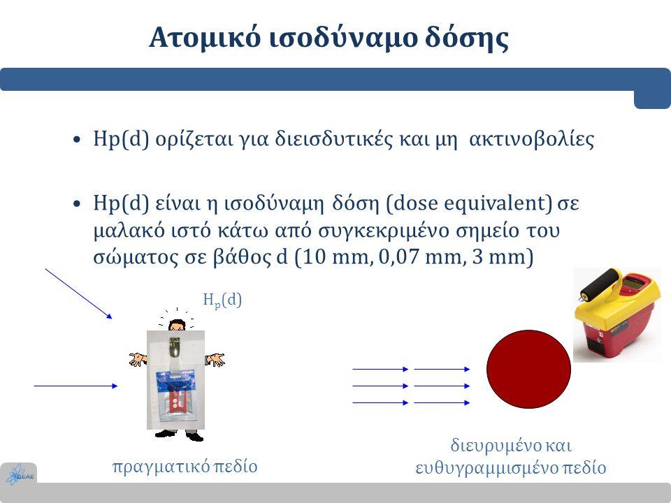 Ατομικό ισοδύναμο δόσης •Hp(d) ορίζεται για διεισδυτικές και μη ακτινοβολίες •Hp(d) είναι η ισοδύναμη δόση (dose equivalent) σε μαλακό ιστό κάτω από σ