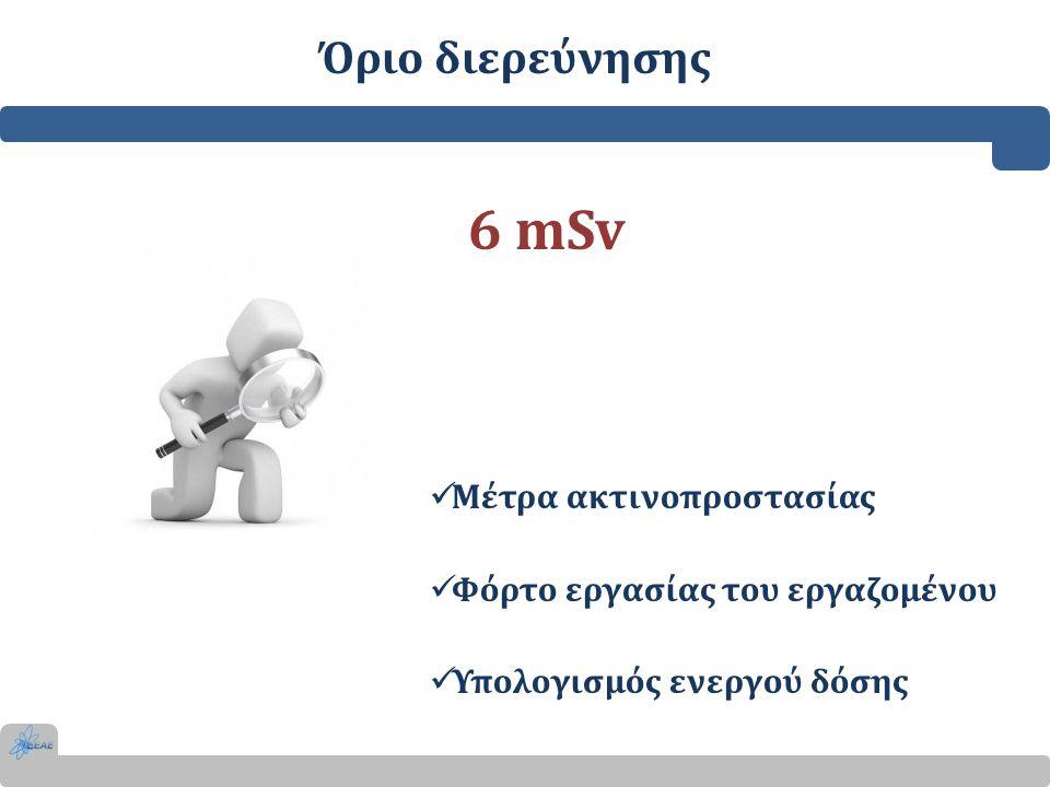 Όριο διερεύνησης 6 mSv  Μέτρα ακτινοπροστασίας  Φόρτο εργασίας του εργαζομένου  Υπολογισμός ενεργού δόσης