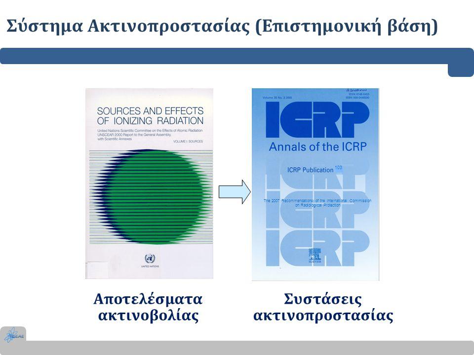 Σύστημα Ακτινοπροστασίας (Ρυθμιστικό πλαίσιο) Το 1996 ο Διεθνής Οργανισμός Ατομικής Ενέργειας (IAEA) υιοθετεί το προτεινόμενο από την ICRP σύστημα ακτινοπροστασίας και εκδίδει τα Διεθνή Βασικά Πρότυπα Ασφάλειας για την Προστασία έναντι των Ιοντιζουσών Ακτινοβολιών.