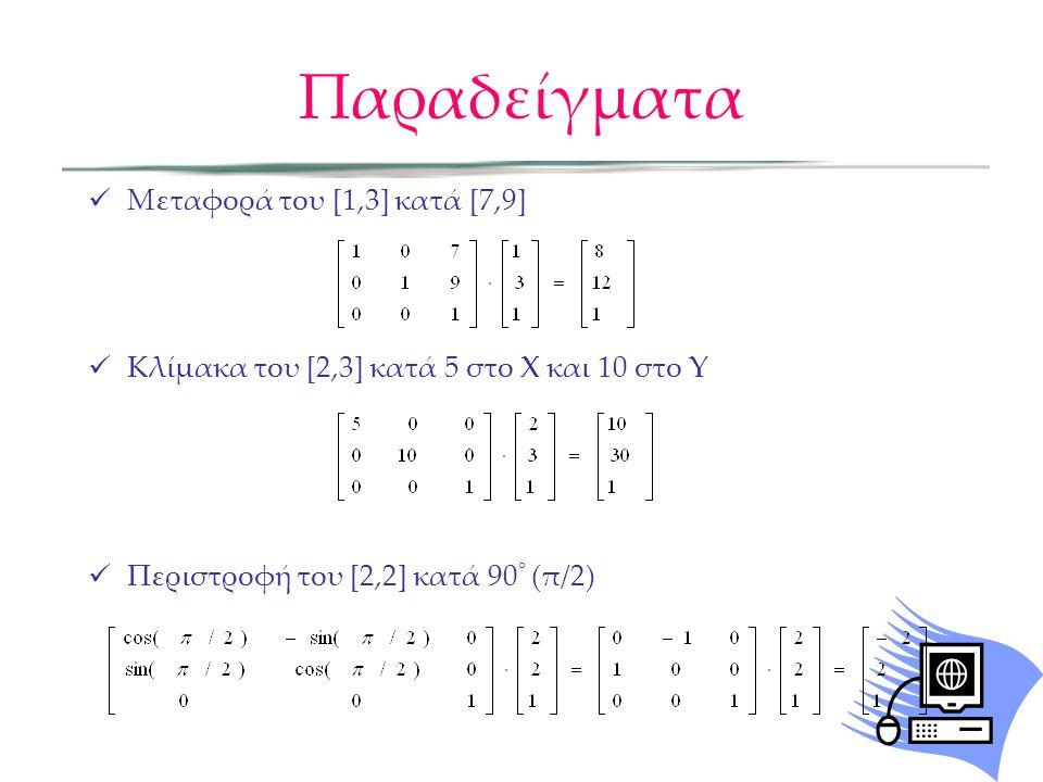  Μεταφορά του [1,3] κατά [7,9]  Κλίμακα του [2,3] κατά 5 στο X και 10 στο Y  Περιστροφή του [2,2] κατά 90 ° (π/2) Παραδείγματα