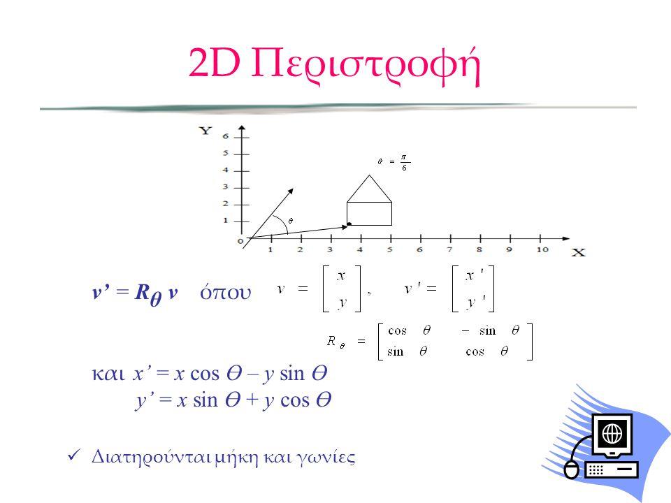 v' = R θ v όπου και x' = x cos Ө – y sin Ө y' = x sin Ө + y cos Ө  Διατηρούνται μήκη και γωνίες 2D Περιστροφή