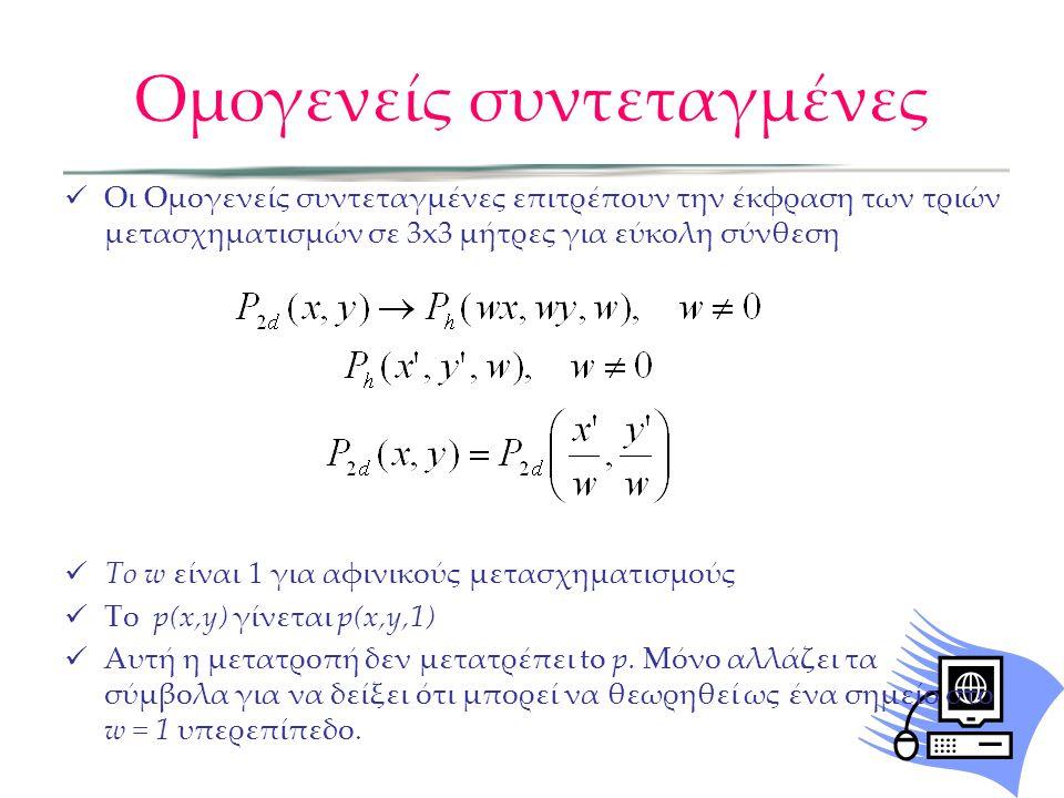 Ομογενείς συντεταγμένες  Οι Ομογενείς συντεταγμένες επιτρέπουν την έκφραση των τριών μετασχηματισμών σε 3x3 μήτρες για εύκολη σύνθεση  Το w είναι 1