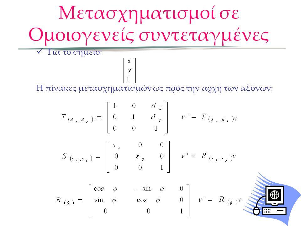  Για το σημείο: Η πίνακες μετασχηματισμών ως προς την αρχή των αξόνων: Μετασχηματισμοί σε Ομοιογενείς συντεταγμένες