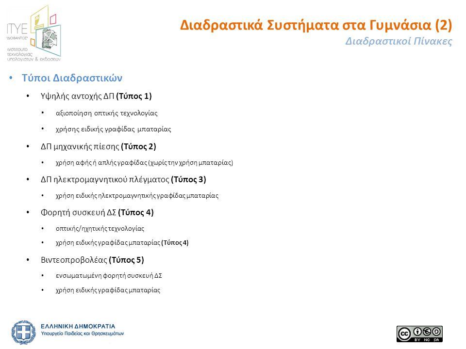 • Τύποι Διαδραστικών • Υψηλής αντοχής ΔΠ (Τύπος 1) • αξιοποίηση οπτικής τεχνολογίας • χρήσης ειδικής γραφίδας μπαταρίας • ΔΠ μηχανικής πίεσης (Τύπος 2) • χρήση αφής ή απλής γραφίδας (χωρίς την χρήση μπαταρίας) • ΔΠ ηλεκτρομαγνητικού πλέγματος (Τύπος 3) • χρήση ειδικής ηλεκτρομαγνητικής γραφίδας μπαταρίας • Φορητή συσκευή ΔΣ (Τύπος 4) • οπτικής/ηχητικής τεχνολογίας • χρήση ειδικής γραφίδας μπαταρίας (Τύπος 4) • Βιντεοπροβολέας (Τύπος 5) • ενσωματωμένη φορητή συσκευή ΔΣ • χρήση ειδικής γραφίδας μπαταρίας Διαδραστικά Συστήματα στα Γυμνάσια (2) Διαδραστικοί Πίνακες