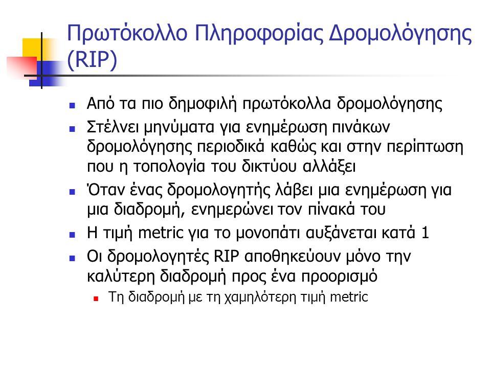 Πρωτόκολλο Πληροφορίας Δρομολόγησης (RIP)  Από τα πιο δημοφιλή πρωτόκολλα δρομολόγησης  Στέλνει μηνύματα για ενημέρωση πινάκων δρομολόγησης περιοδικ
