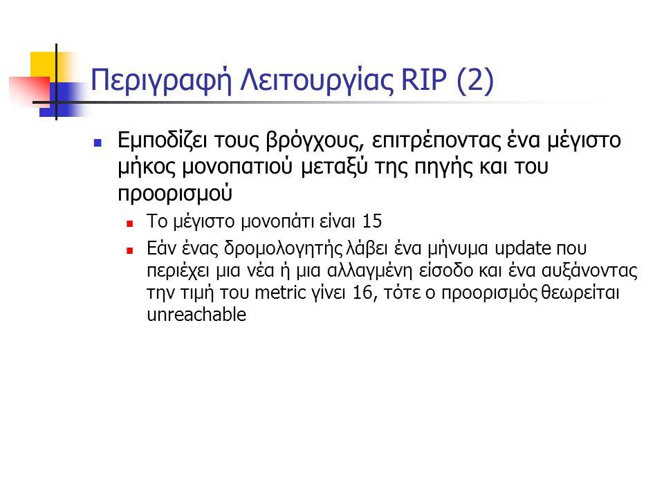 Περιγραφή Λειτουργίας RIP (2)  Εμποδίζει τους βρόγχους, επιτρέποντας ένα μέγιστο μήκος μονοπατιού μεταξύ της πηγής και του προορισμού  Το μέγιστο μο