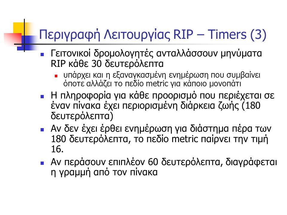 Περιγραφή Λειτουργίας RIP – Timers (3)  Γειτονικοί δρομολογητές ανταλλάσσουν μηνύματα RIP κάθε 30 δευτερόλεπτα  υπάρχει και η εξαναγκασμένη ενημέρωσ