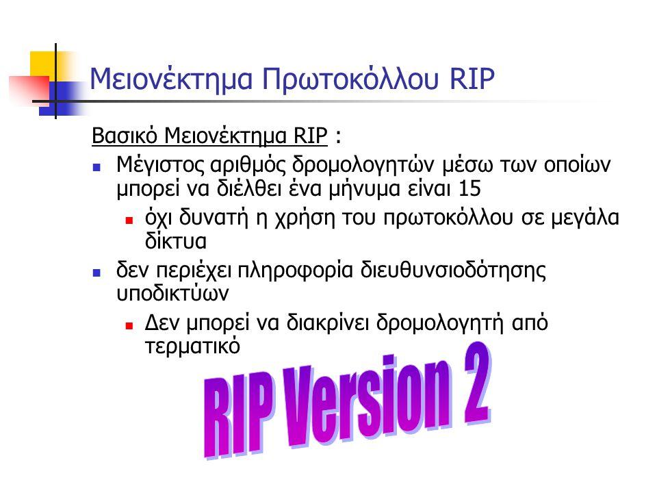 Μειονέκτημα Πρωτοκόλλου RIP Βασικό Μειονέκτημα RIP :  Μέγιστος αριθμός δρομολογητών μέσω των οποίων μπορεί να διέλθει ένα μήνυμα είναι 15  όχι δυνατ
