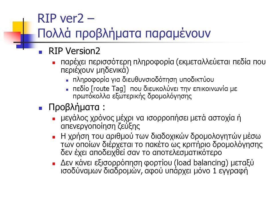 RIP ver2 – Πολλά προβλήματα παραμένουν  RIP Version2  παρέχει περισσότερη πληροφορία (εκμεταλλεύεται πεδία που περιέχουν μηδενικά)  πληροφορία για