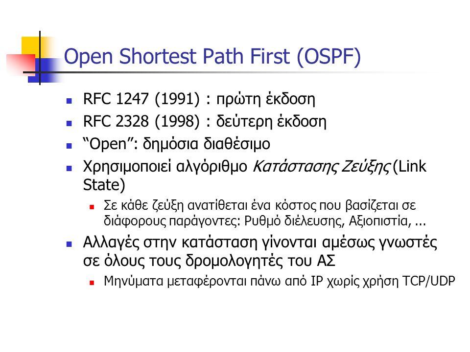 "Open Shortest Path First (OSPF)  RFC 1247 (1991) : πρώτη έκδοση  RFC 2328 (1998) : δεύτερη έκδοση  ""Open"": δημόσια διαθέσιμο  Χρησιμοποιεί αλγόριθ"