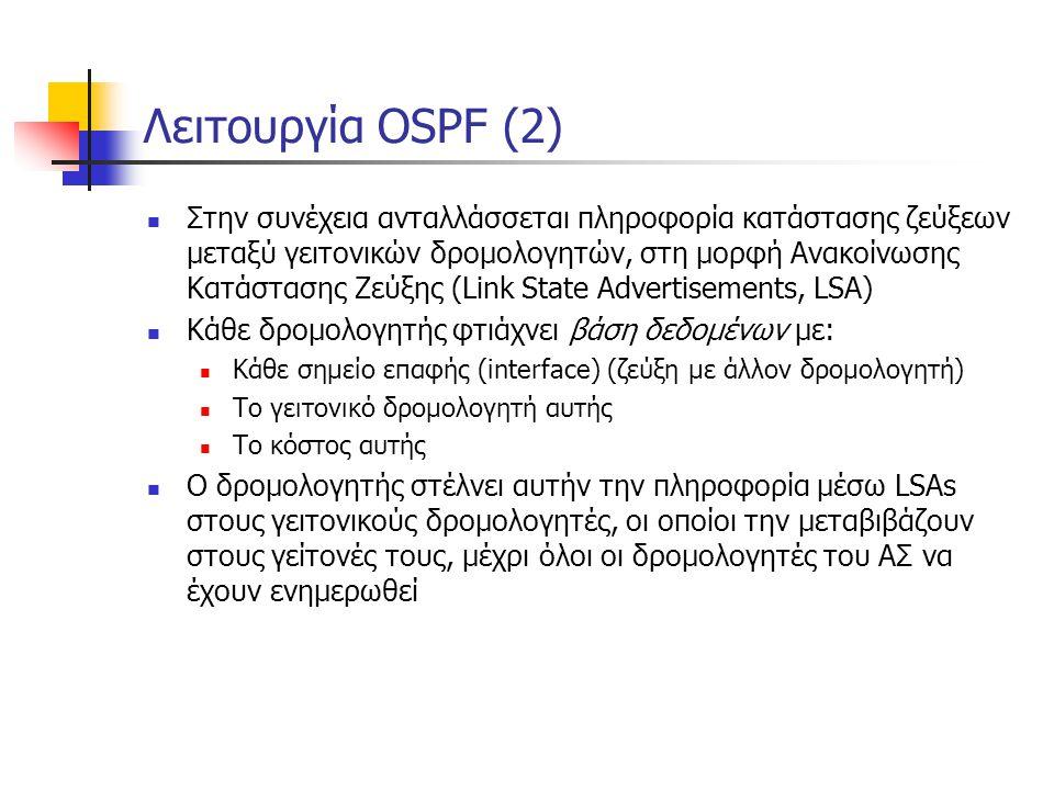 Λειτουργία OSPF (2)  Στην συνέχεια ανταλλάσσεται πληροφορία κατάστασης ζεύξεων μεταξύ γειτονικών δρομολογητών, στη μορφή Ανακοίνωσης Κατάστασης Ζεύξη