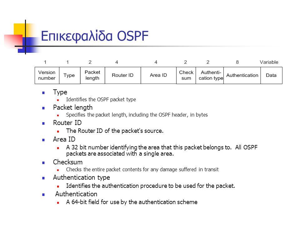Επικεφαλίδα OSPF  Type  Identifies the OSPF packet type  Packet length  Specifies the packet length, including the OSPF header, in bytes  Router