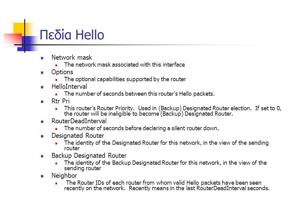Πεδία Hello  Network mask  The network mask associated with this interface  Options  The optional capabilities supported by the router  HelloInte
