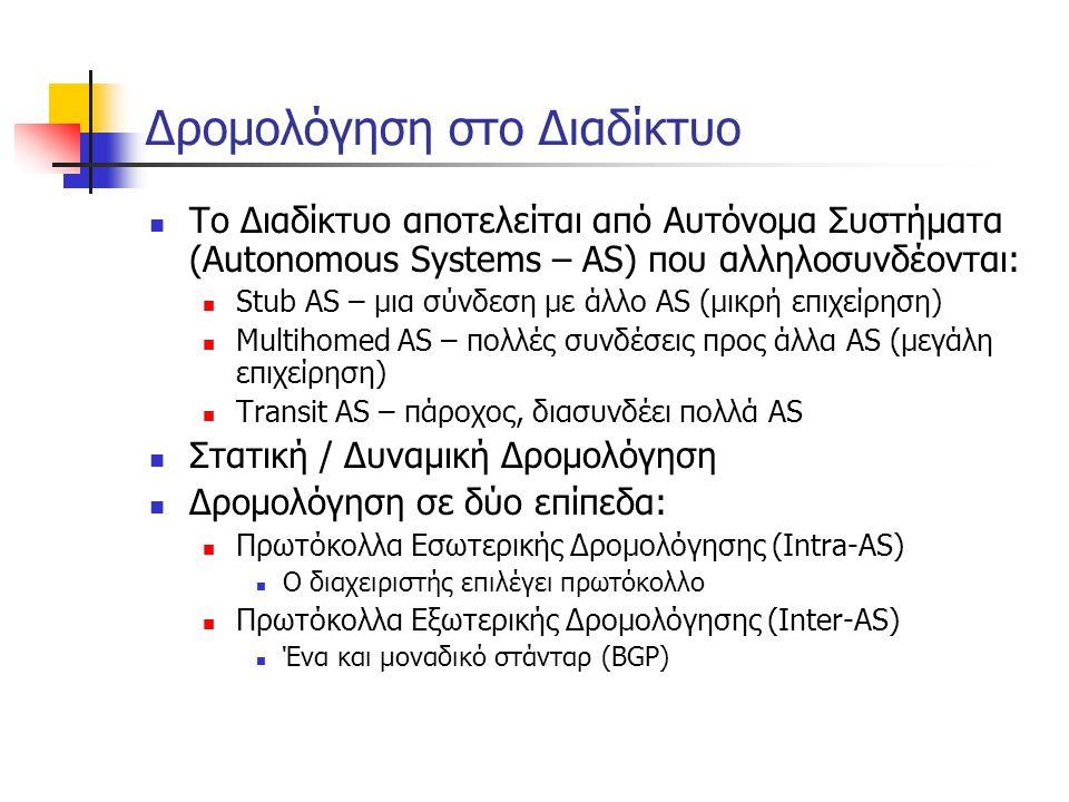 Δρομολόγηση στο Διαδίκτυο  Το Διαδίκτυο αποτελείται από Αυτόνομα Συστήματα (Autonomous Systems – AS) που αλληλοσυνδέονται:  Stub AS – μια σύνδεση με