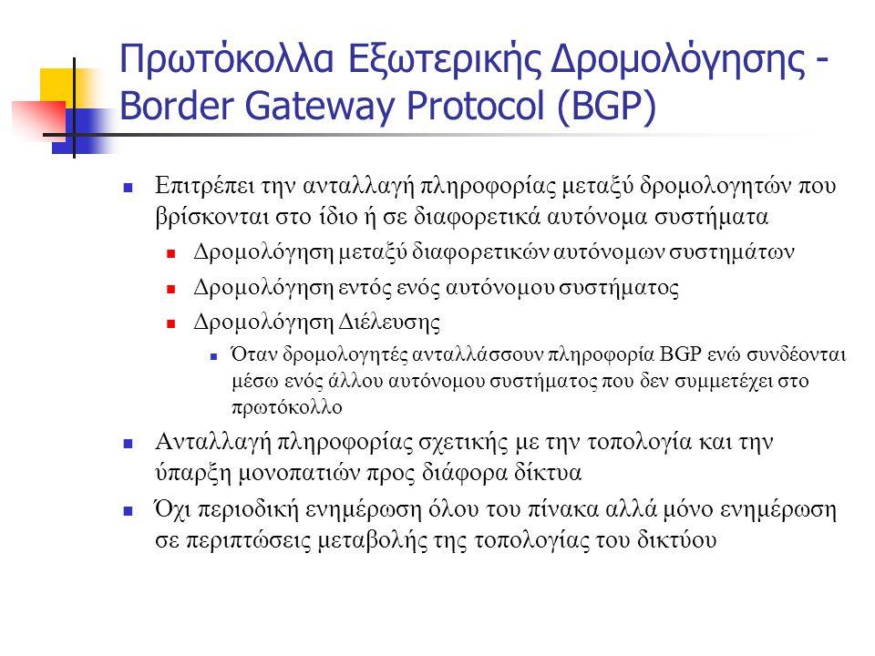 Πρωτόκολλα Εξωτερικής Δρομολόγησης - Border Gateway Protocol (BGP)  Επιτρέπει την ανταλλαγή πληροφορίας μεταξύ δρομολογητών που βρίσκονται στο ίδιο ή