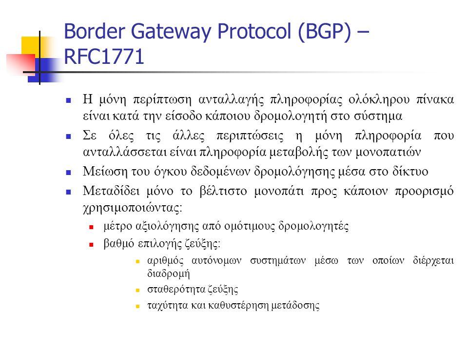 Border Gateway Protocol (BGP) – RFC1771  Η μόνη περίπτωση ανταλλαγής πληροφορίας ολόκληρου πίνακα είναι κατά την είσοδο κάποιου δρομολογητή στο σύστη