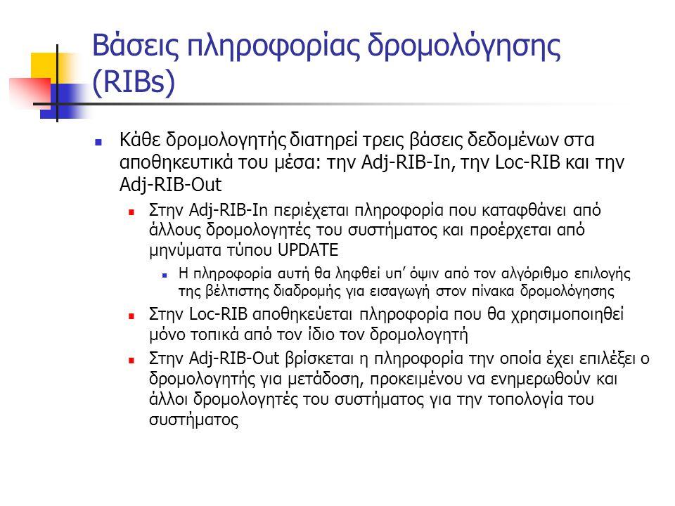 Βάσεις πληροφορίας δρομολόγησης (RIBs)  Κάθε δρομολογητής διατηρεί τρεις βάσεις δεδομένων στα αποθηκευτικά του μέσα: την Adj-RIB-In, την Loc-RIB και