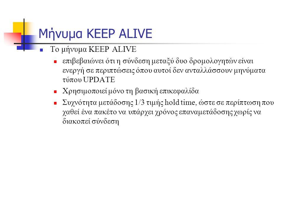 Μήνυμα KEEP ALIVE  Το μήνυμα KEEP ALIVE  επιβεβαιώνει ότι η σύνδεση μεταξύ δυο δρομολογητών είναι ενεργή σε περιπτώσεις όπου αυτοί δεν ανταλλάσσουν