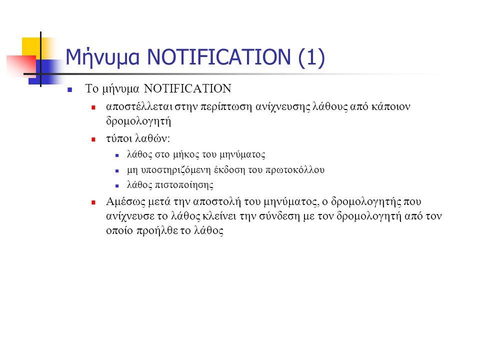 Μήνυμα NOTIFICATION (1)  To μήνυμα NOTIFICATION  αποστέλλεται στην περίπτωση ανίχνευσης λάθους από κάποιον δρομολογητή  τύποι λαθών:  λάθος στο μή