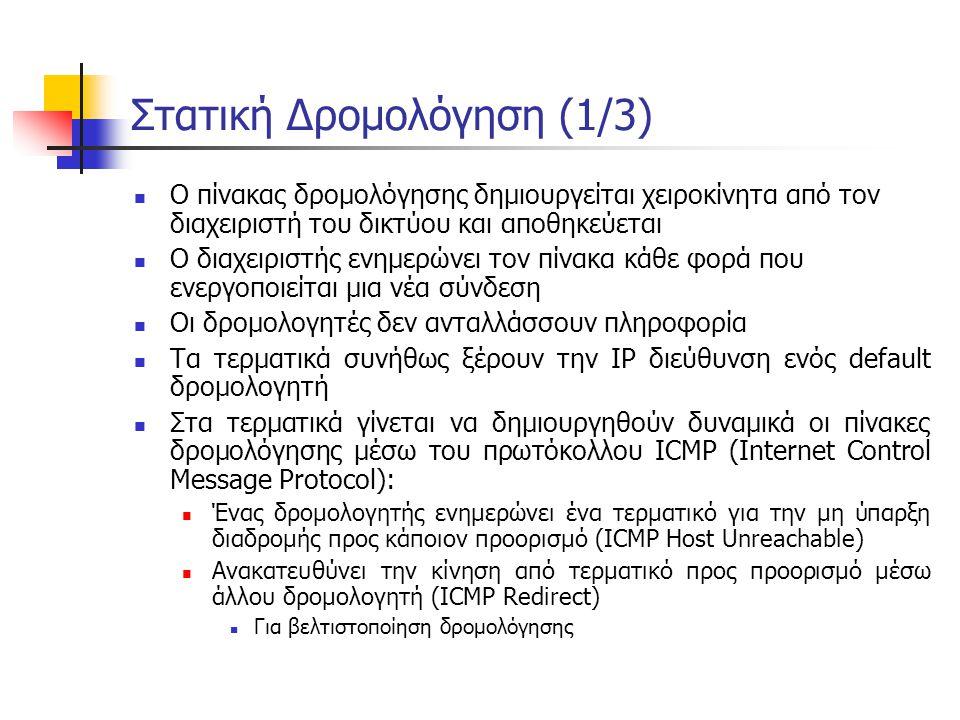 Μηνύματα OSPF (1)  HELLO  Ανακαλύπτει και διατηρεί επικοινωνία με γειτονικούς δρομολογητές  Αποστέλλεται περιοδικά  Συγχρονίζει και τα ρολόγια των συστημάτων που συμμετέχουν σε ένα δίκτυο OSPF  Database Description  Χρησιμοποιείται για την ανταλλαγή πληροφοριών που περιέχονται στις βάσεις δεδομένων των δρομολογητών κατά την αρχικοποίηση  Link Status Request  Ζητά από γειτονικό δρομολογητή πληροφορία σχετική με ζεύξεις, σε περίπτωση που δεν έχουν ενημερωθεί  Link Status Update  Ενημερώνει γειτονικούς δρομολογητές για αλλαγή κατάστασης μιας ζεύξης
