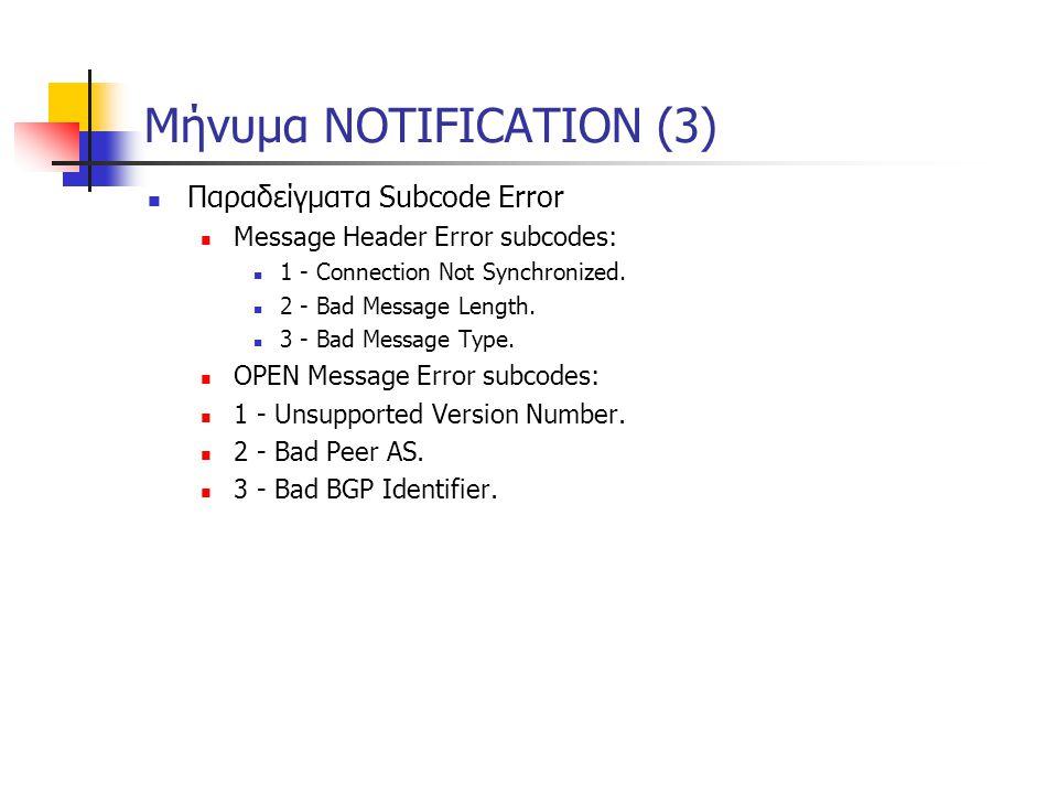 Μήνυμα NOTIFICATION (3)  Παραδείγματα Subcode Error  Message Header Error subcodes:  1 - Connection Not Synchronized.  2 - Bad Message Length.  3