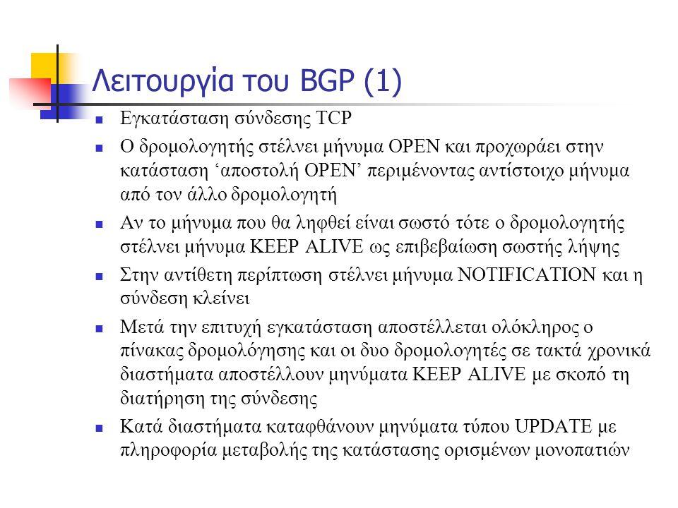 Λειτουργία του BGP (1)  Εγκατάσταση σύνδεσης TCP  Ο δρομολογητής στέλνει μήνυμα OPEN και προχωράει στην κατάσταση 'αποστολή OPEN' περιμένοντας αντίσ