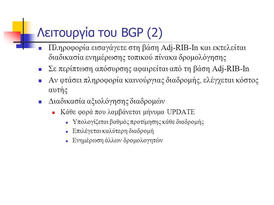 Λειτουργία του BGP (2)  Πληροφορία εισαγάγετε στη βάση Adj-RIB-In και εκτελείται διαδικασία ενημέρωσης τοπικού πίνακα δρομολόγησης  Σε περίπτωση από