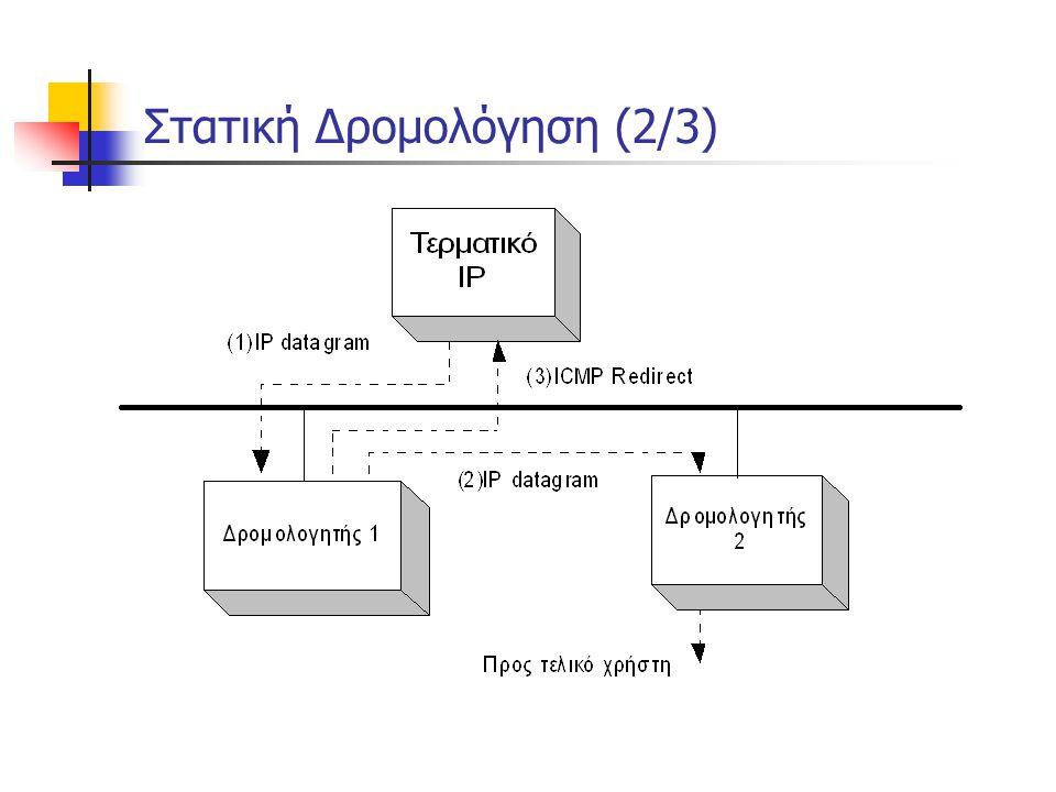 Στατική Δρομολόγηση (3/3)  Μειονεκτήματα Στατικής Δρομολόγησης:  Για κάθε προορισμό δημιουργείται μια εγγραφή στον πίνακα δρομολόγησης του τερματικού  Τα μονοπάτια που εγγράφονται στον πίνακα αφορούν μόνο προορισμούς τερματικών και όχι δικτύων  Μη υποστήριξη διευθύνσεων δικτύου από το πρωτόκολλο  Ακόμη και αν δυο τερματικά βρίσκονται στο ίδιο δίκτυο, δεν είναι δυνατόν να γίνει μια μόνο εγγραφή στον πίνακα δρομολόγησης  Άρα, οι πίνακες που δημιουργούνται είναι μεγάλοι :  Άσκοπη κατανάλωση μνήμης  Αύξηση του χρόνου αναζήτησης μιας διεύθυνσης μέσα στον πίνακα  Η χειροκίνητη ενημέρωση πίνακα στους δρομολογητές παραμένει