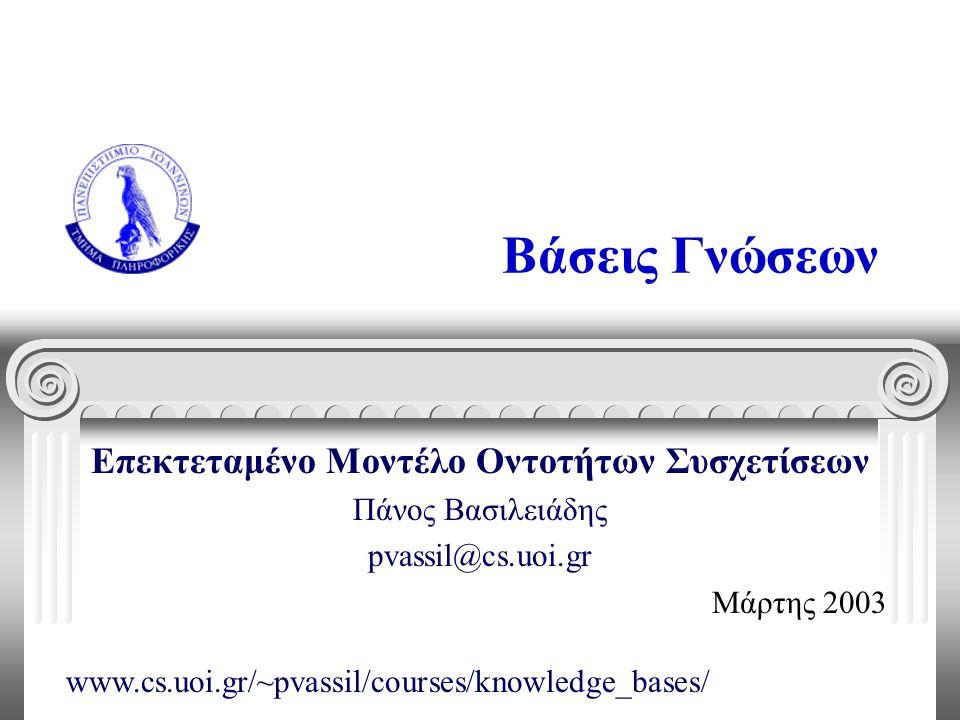 Βάσεις Γνώσεων Επεκτεταμένο Μοντέλο Οντοτήτων Συσχετίσεων Πάνος Βασιλειάδης pvassil@cs.uoi.gr Μάρτης 2003 www.cs.uoi.gr/~pvassil/courses/knowledge_bas