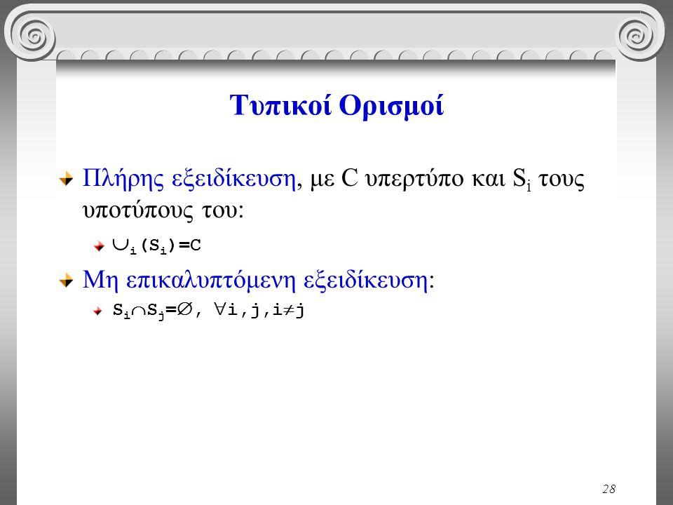 28 Τυπικοί Ορισμοί Πλήρης εξειδίκευση, με C υπερτύπο και S i τους υποτύπους του:  i (S i )=C Μη επικαλυπτόμενη εξειδίκευση: S i  S j = ,  i,j,i 