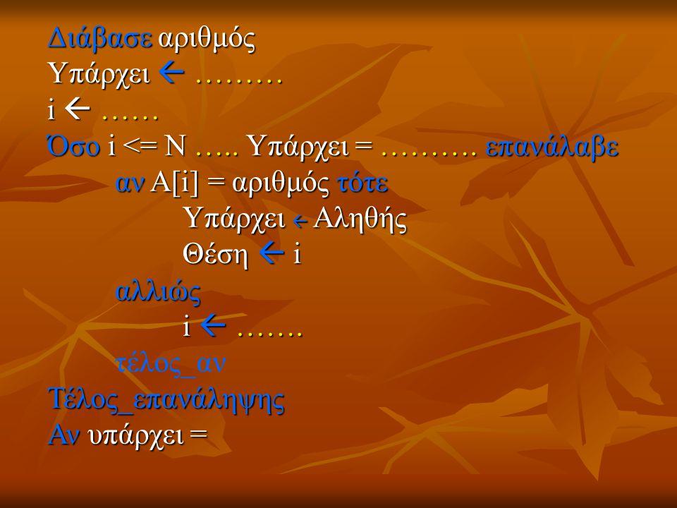 Διάβασε αριθμός Υπάρχει  ……… i  …… Όσο i <= Ν ….. Υπάρχει = ………. επανάλαβε αν Α[i] = αριθμός τότε Υπάρχει  Αληθής Θέση  i αλλιώς i  ……. τέλος_ανΤ